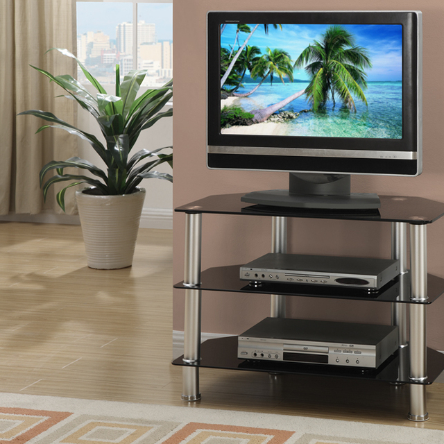 Metal Glass Tv Stand With 3 Shelves Black Silver In Tv Stands