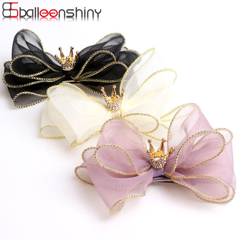 Balleenshiny Baby Hair Clips Mesh Bow Crown Children's Hair Accessories Infant Toddler Headwear Kids Girls Birthday Gifts