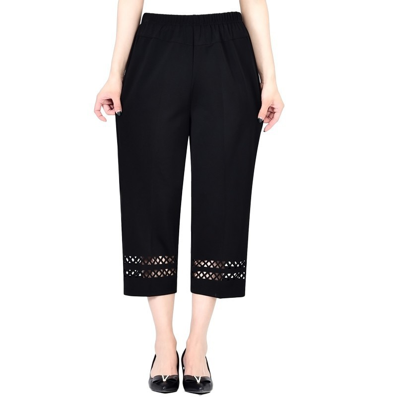 2020 Summer Middle Aged Women Pants Capris Fashion Elastic Waist Casual Plus Size 5XL Ladies Straight Pants Pantalones De Mujer