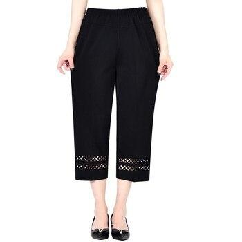 Summer Middle Aged Women Pants Capris Fashion Elastic Waist Casual Plus Size 5XL Ladies Straight Pants Pantalones De Mujer Pants & Capris