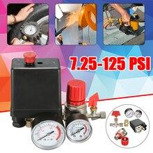 Переключатель давления клапан коллектор регулятор манометры для воздушного компрессора 7,25-174 PSI Регулируемый переключатель давления для воздушного компрессора