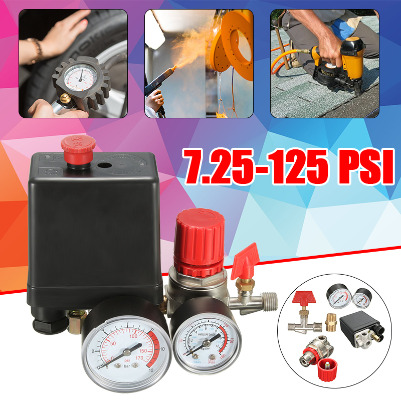 Pressure Switch Valve Manifold Regulator Gauges For Air Compressor 7.25-174 PSI New Adjustable Air Compressor Pressure Switch