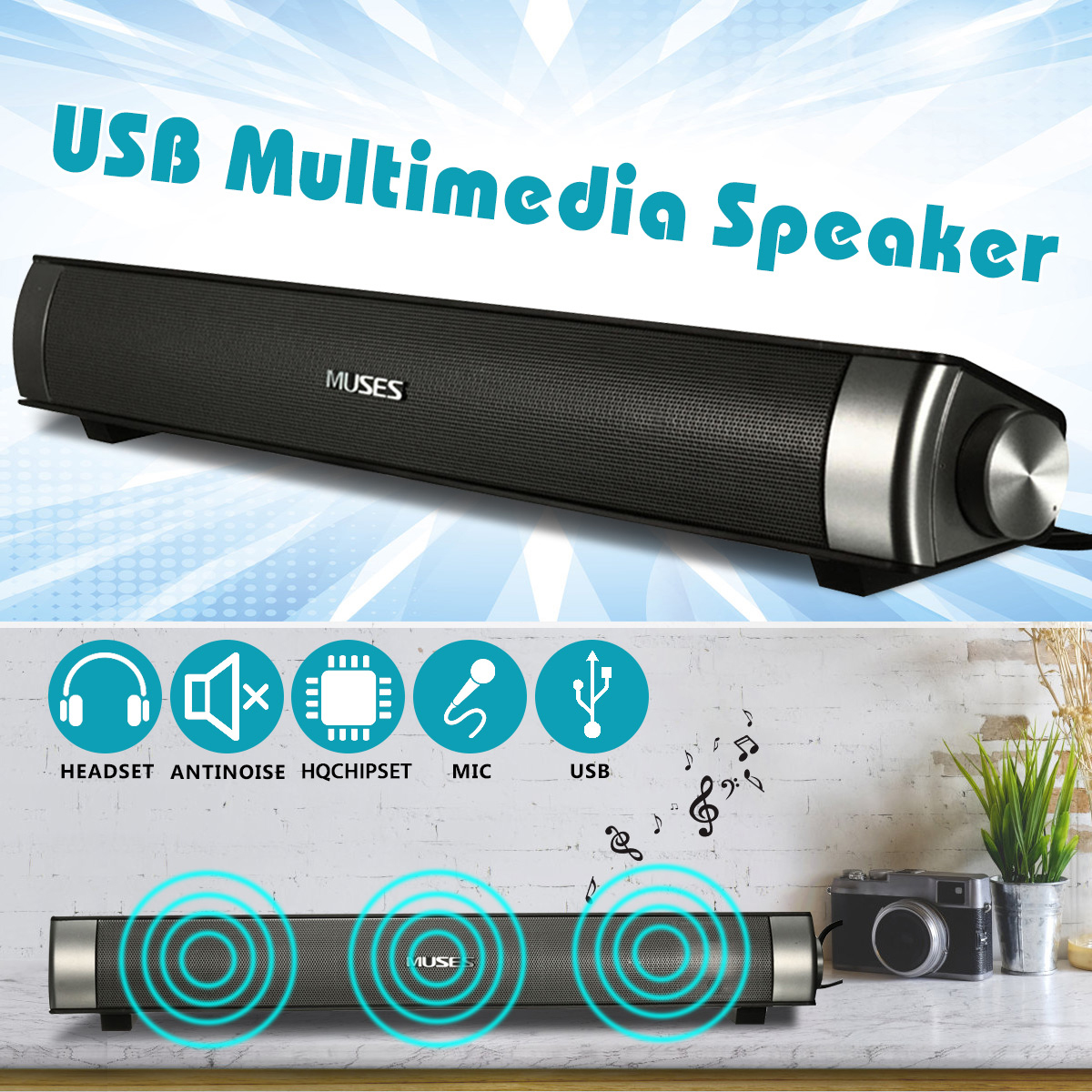 Bluetooth Soundbar Speaker Portable Wireless Speaker Amplifier HIFI Stereo Sound Bar With USB AUX Microphone For Computer PC