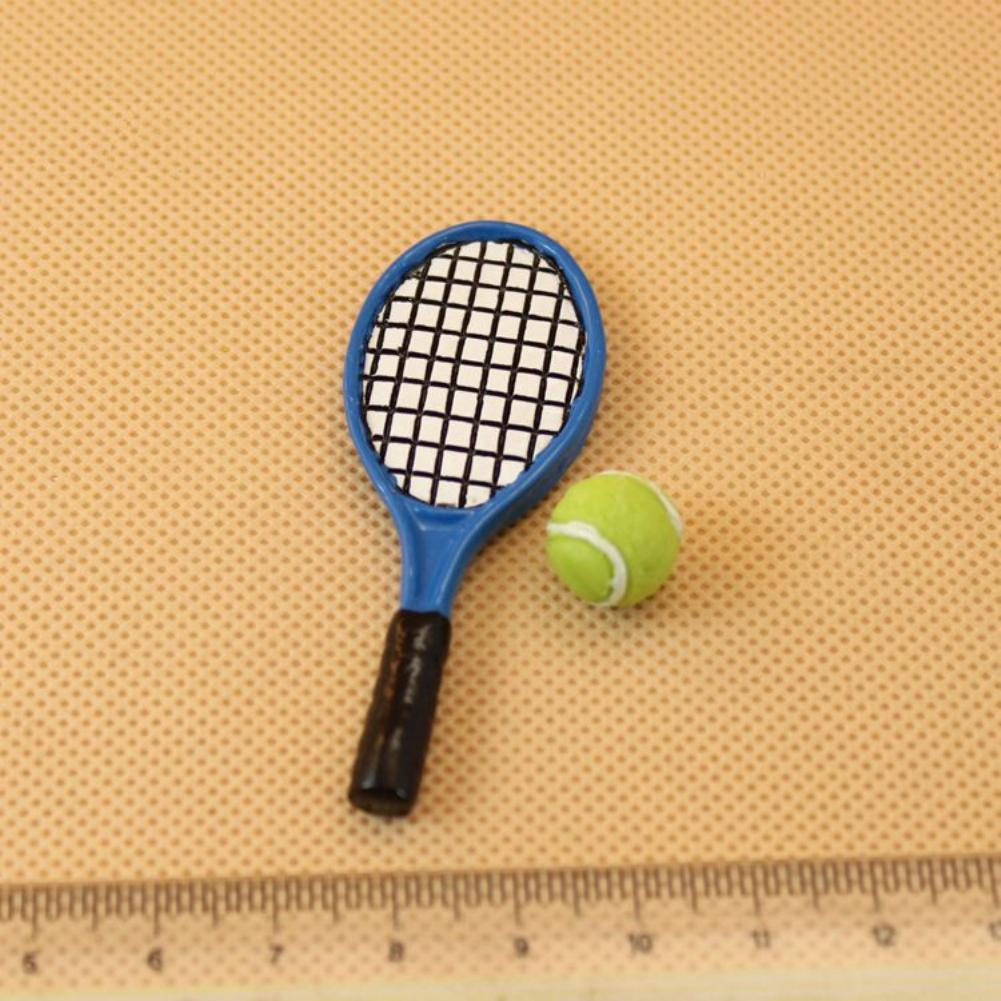 Mini Tennis Ball Racket Set Modeling For 1:12 Doll House