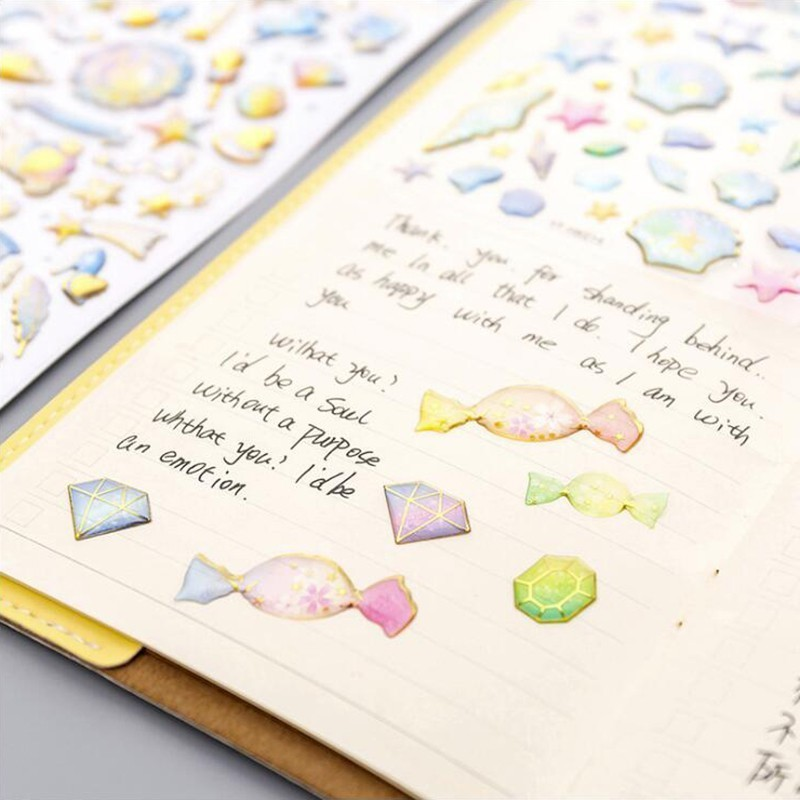Kawaii Crystal Bronzing Series Diary Sticky Stickers Scrapbooking Flakes Office Stationery School Supplies1Sheets in Stationery Stickers from Office School Supplies