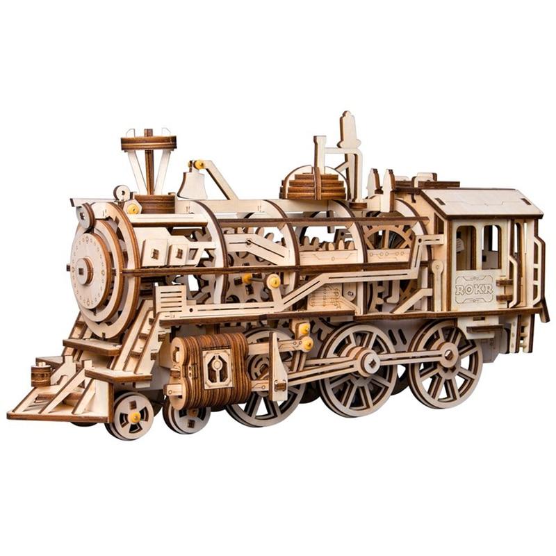 Robotime bricolage mécanique engrenage entraînement Locomotive 3D en bois modèle Kits de construction jouets loisirs cadeau pour enfants adulte LK701