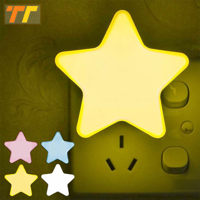 LED Night Light EU Plug Baby Lamp Sleeping Light Sensor Control Mini Star  Socket For Children's Bedroom Bedside Lamp 4 Colors