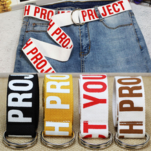 Fashion Letter Canvas Belt Nylon Cotton Print Simple Style High Quality Double Buckle Trend Ring Adjustable