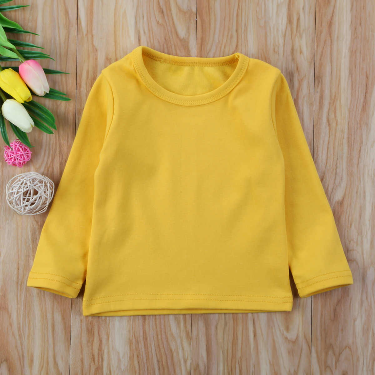 Peuter Kids Baby Meisje Katoen Candy Kleur Lange Mouwen t-shirt Tops Tee Shirt Kleding