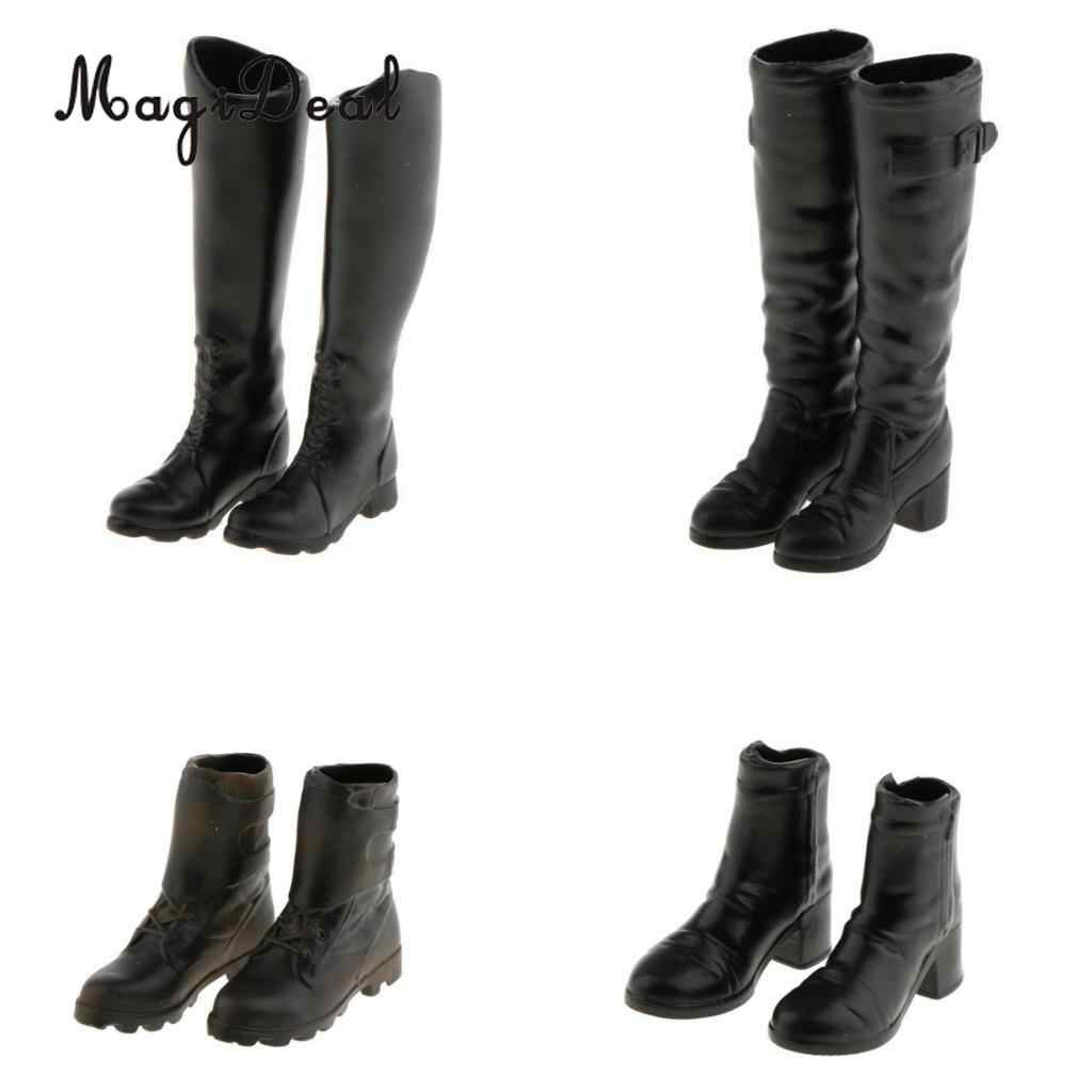 1 Pair Rubber 1 6 Scale Women s Black Long Boots Shoes for 12 Inch Hot d52ec6add04b