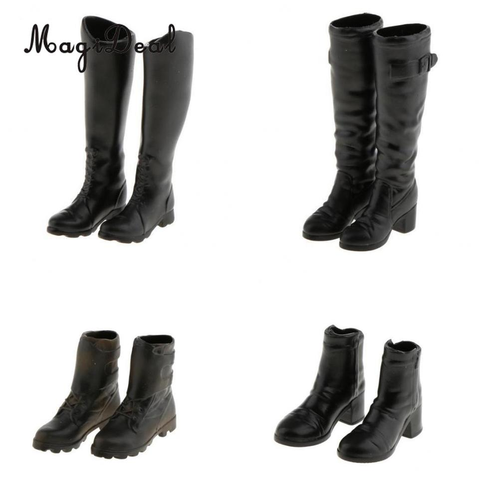 1//6 Scale Male Mid Calf Knee High Combat Boot Shoes for 12 INCH Action Figures