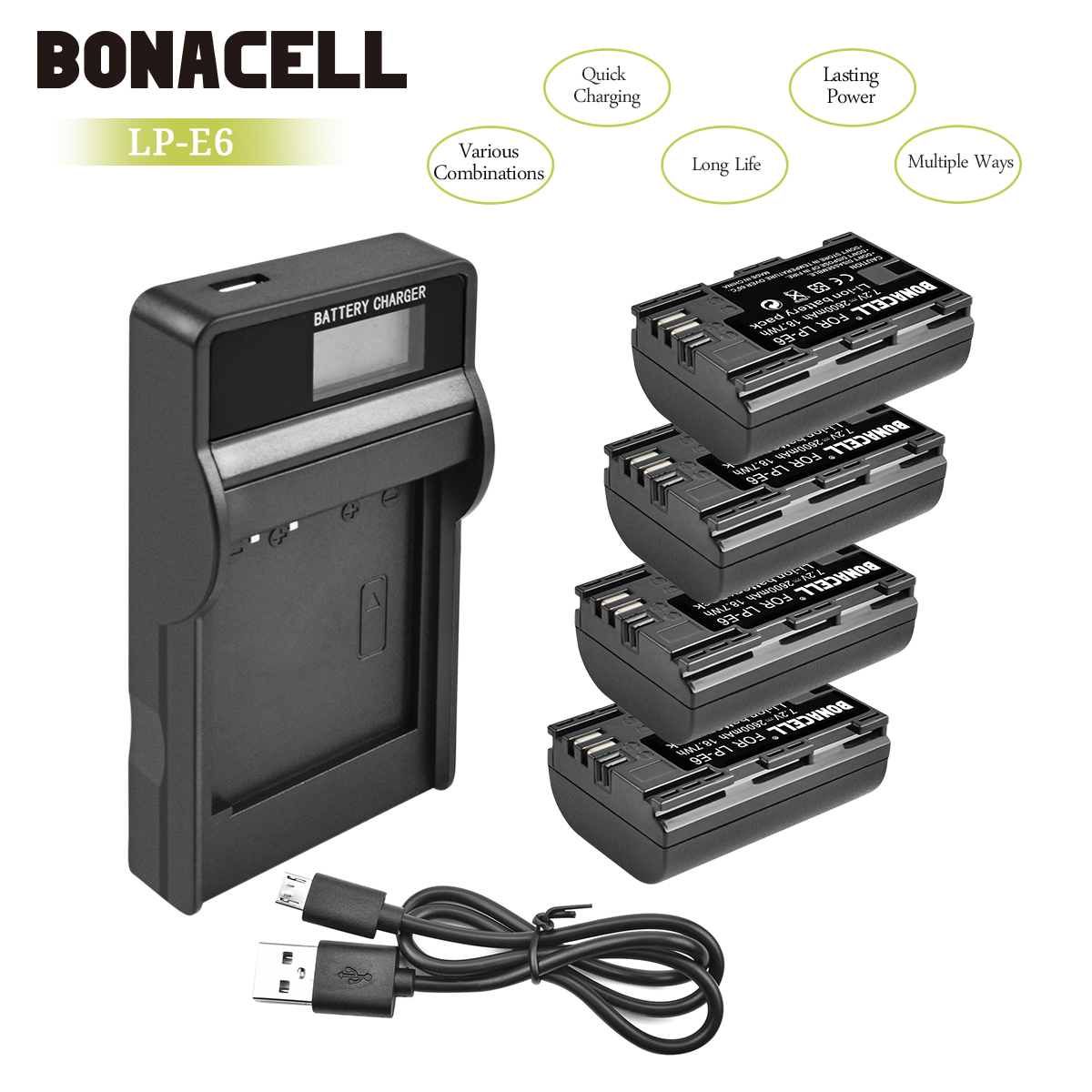 Bonacell 2600mAh LP-E6 Digital Camera Battery+LCD Charger For Canon EOS 5D Mark II 2 III 3 6D 7D 60D 60Da 70D 80D DSLR EOS L10Bonacell 2600mAh LP-E6 Digital Camera Battery+LCD Charger For Canon EOS 5D Mark II 2 III 3 6D 7D 60D 60Da 70D 80D DSLR EOS L10