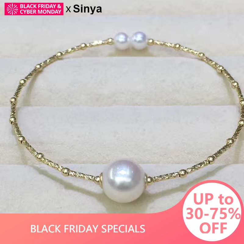 Sinya Natural pearls 18k AU750 gold tube Bangles bracelet for women girl Mom lover length about 17.5cm pearl diameter 9-10cm