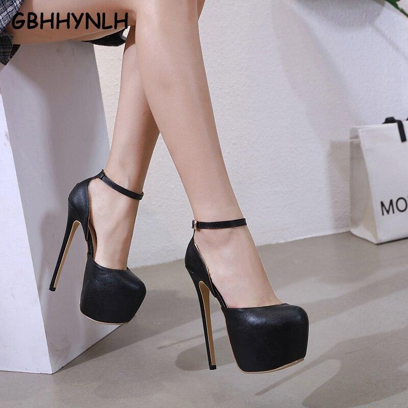 38e8925023ea GBHHYNLH Sexy high heels women pumps buckle platform spring shoes Lady  Nightclub wedding shoes 16 cm stilettos heels LJA540