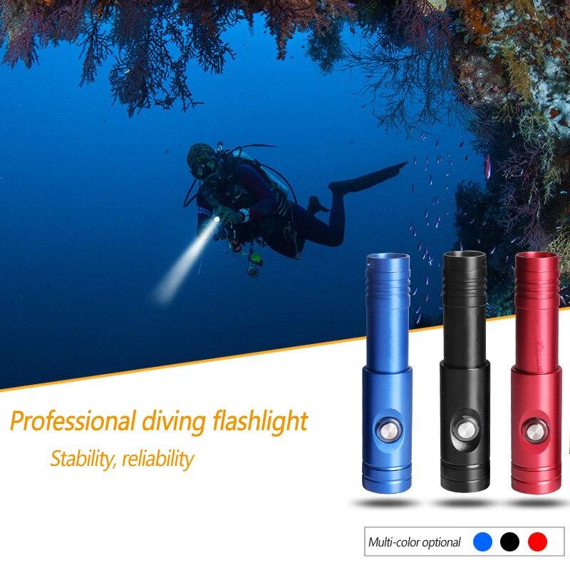 Professional Scuba Diving Flashlight 18650 Powerful Dive Torch U4 Charging Long range Button Underwater Waterproof Searchlight