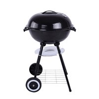 Trolley 17'' Metal Charcoal BBQ Grill Pit Outdoor Camping Cooker Garden Barbecue Tools BBQ Accessories Cooking Tools Kitchen
