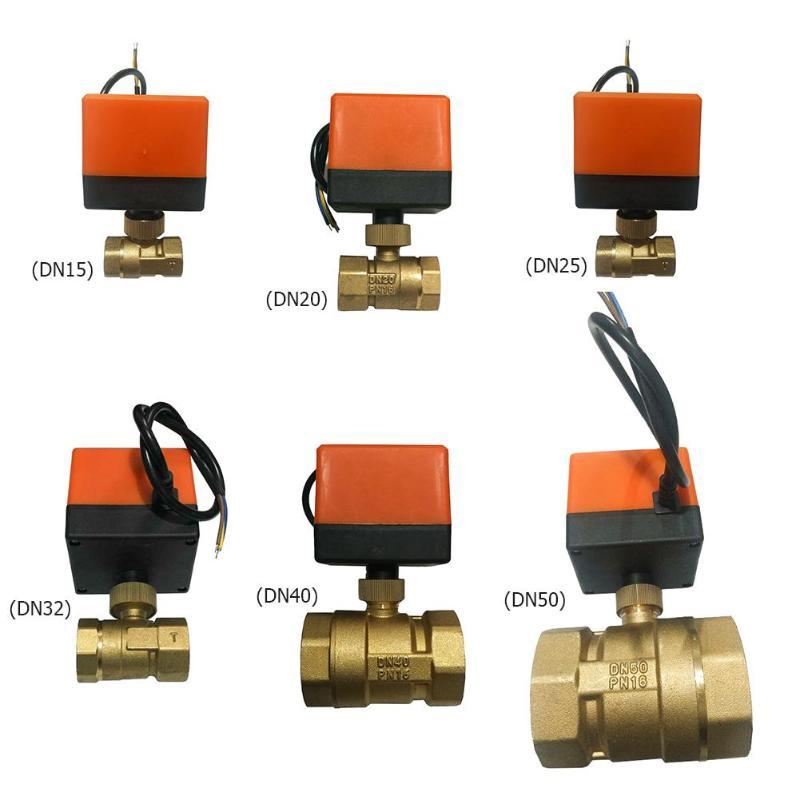 Vanne à boisseau sphérique motorisée électrique en laiton DN15/DN20/DN25/32/DN40/DN50 DC24V vanne à boisseau sphérique motorisée à 3 fils en laiton à 2 voies
