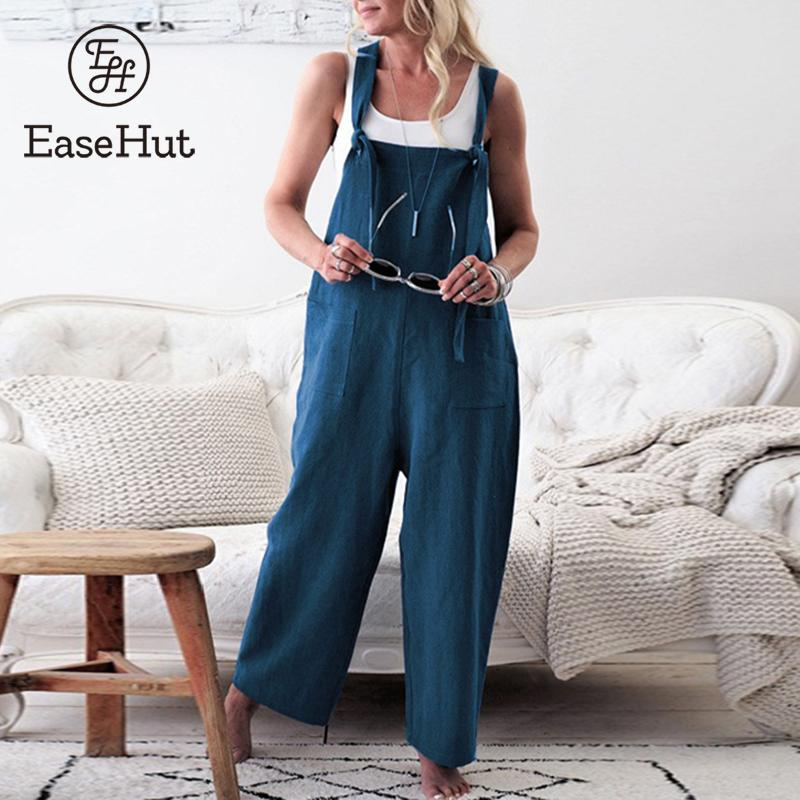 EaseHut Women Vintage Loose   Jumpsuits   Suspender Trousers Wide Legs Pants Oversized Overalls Rompers Casual Pants Playsuits 2019