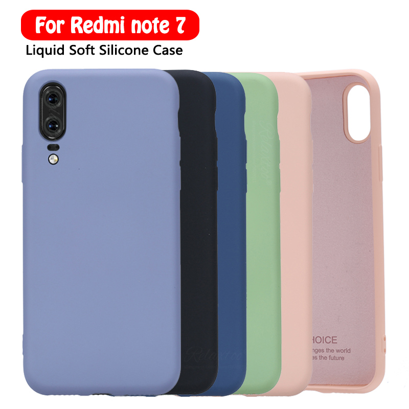<font><b>2019</b></font> soft Liquid Silicone Case for xiaomi redmi note 7 phone case for xiaomi xiomi redmi 7 note 7 note7 redmi7 Cover couqe shell image
