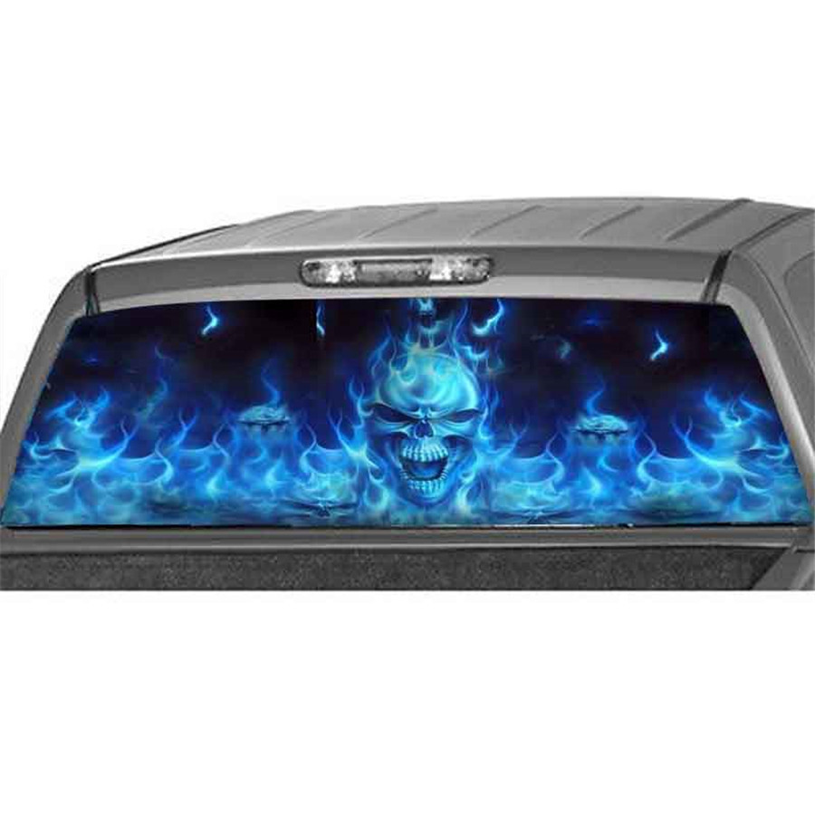135x36cm for SUV Rear Window Flaming Skull Cool Sticker Rear Window Sticker Phantom pattern in Car Stickers from Automobiles Motorcycles
