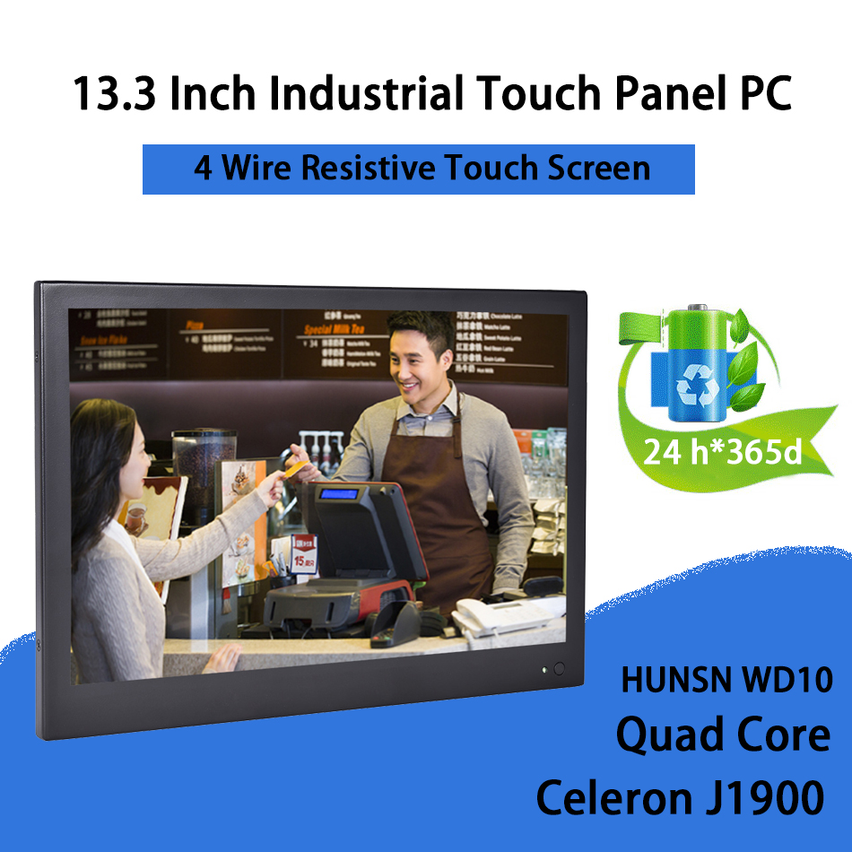13.3 Inch Industrial Touch Panel PC,4 Wire Resistive Touch Screen,Intel J1900,Windows 7/10,Linux,[HUNSN DA11W]