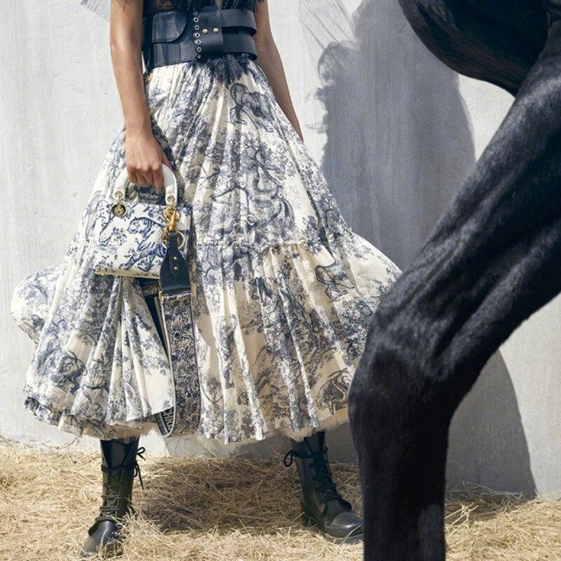 Vintage bleu Floral imprimé longues jupes femmes 2019 printemps été piste Designer taille haute Maxi jupe