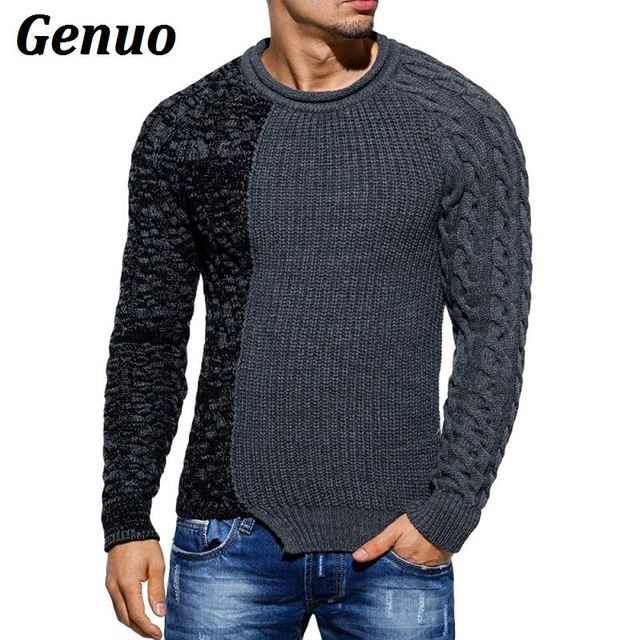 Genuo Men Sweaters 2018 Pullover New Autumn Warm High-Quality Patchwork Sweaters Man Casual Knitwear Winter  Men Black Sweatwer