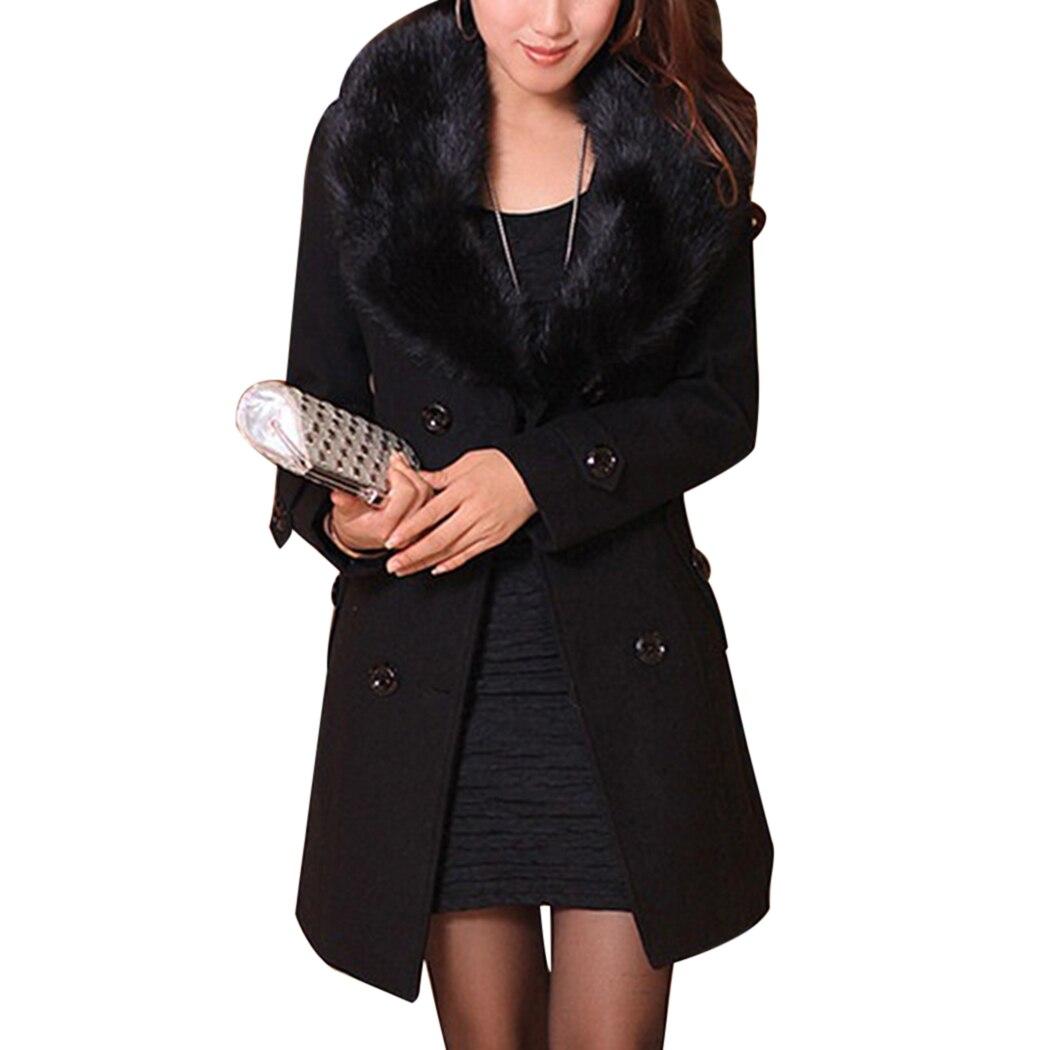 Hiver Avec Manteau gray Long Double Élégantes Col Outwear Laine Femmes 2018 Black Chaud Plus Taille Boutonnage Veste De Fourrure brown Fit Mince La Ceinture Dames qZwv8gA