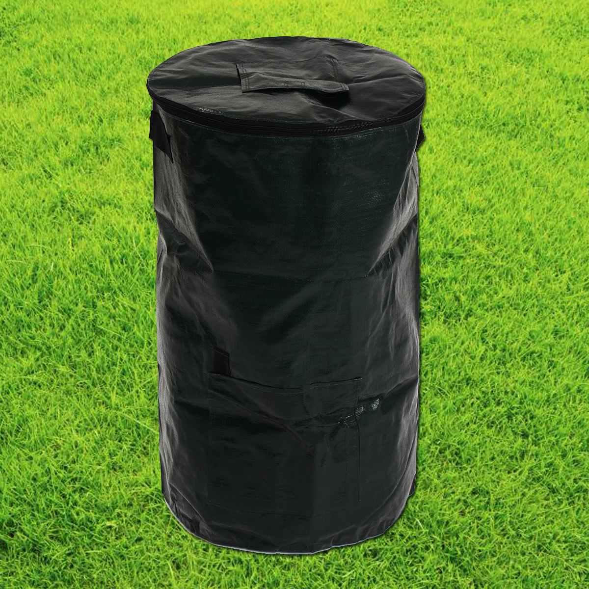 60L Garden Compost Bag Kitchen Yard Compost Bag Organic Waste Converter Portable Environmental PE Cloth Planter Supply
