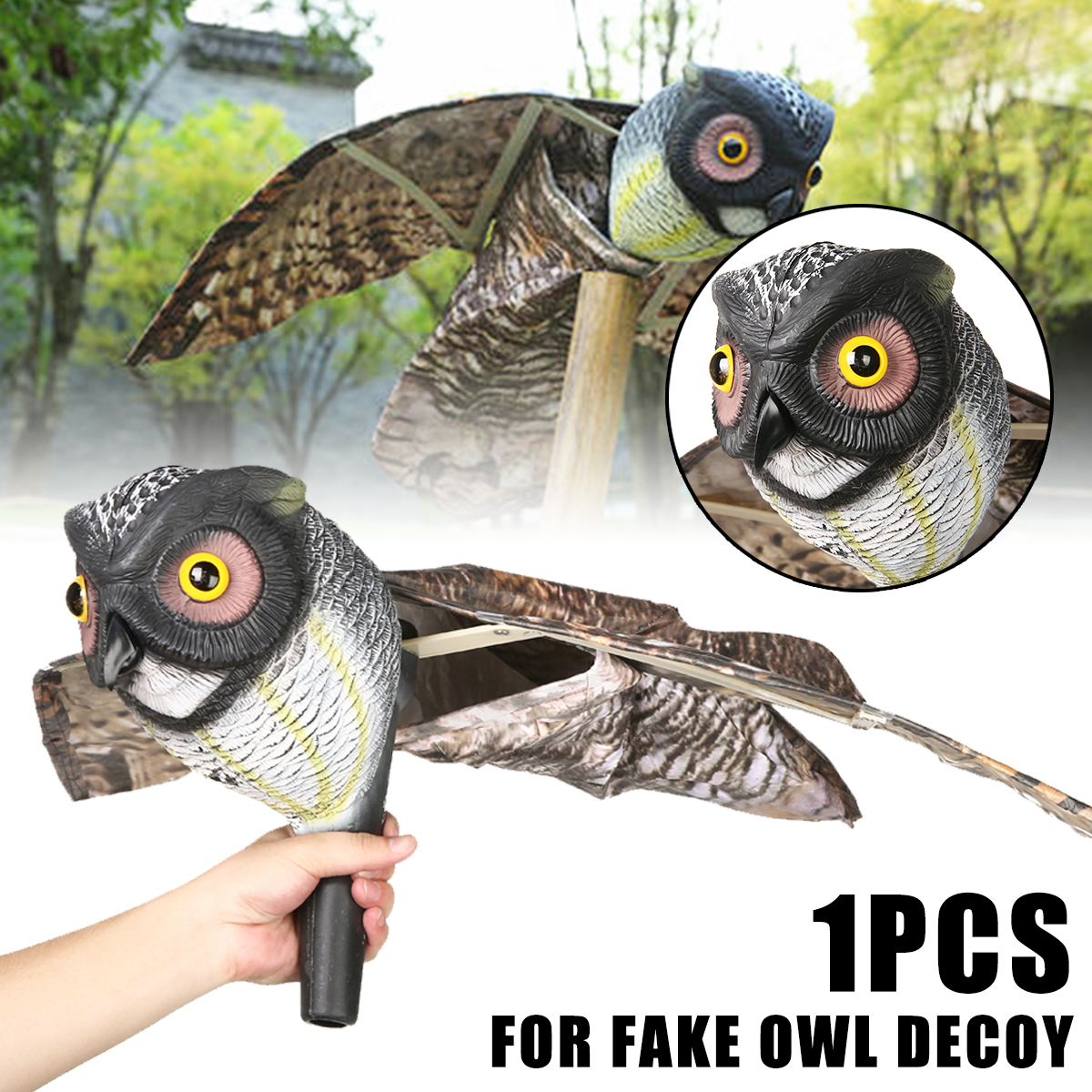 Fake Prowler Owl with Moving Wing Bird Proof Repellent Garden Owl Decoy Pest Scarer Sparrow Bird Scarecrow Control Supplies