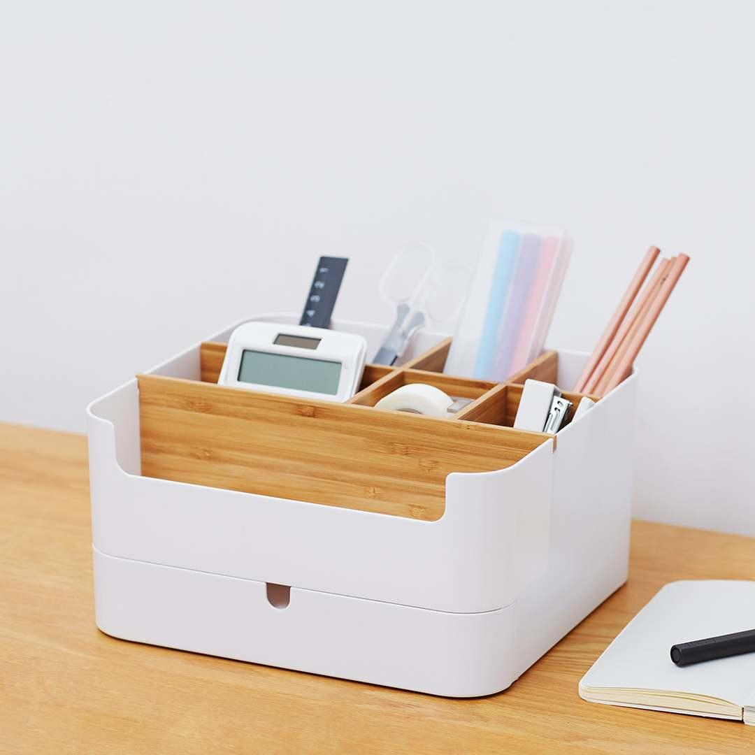 Bamboo Make Multifunctional Drawer Type Desktop Bathroom Box Cosmetic Storage Display Box Glove Box Bathroom Holder Accessories