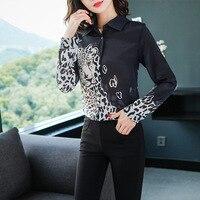 Super Quality 2019 Spring New Fashion Leopard Print Printing Real Silk Shirt Black Silk Woman C27 women blouses long sleeve