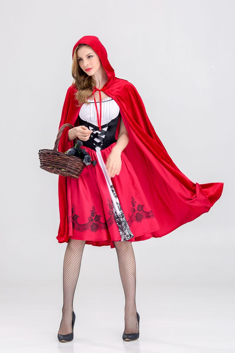 Halloween Sexy Woman's Little Red Riding Hood Costume With Cloak Party Cosplay Fantasia Game Uniform
