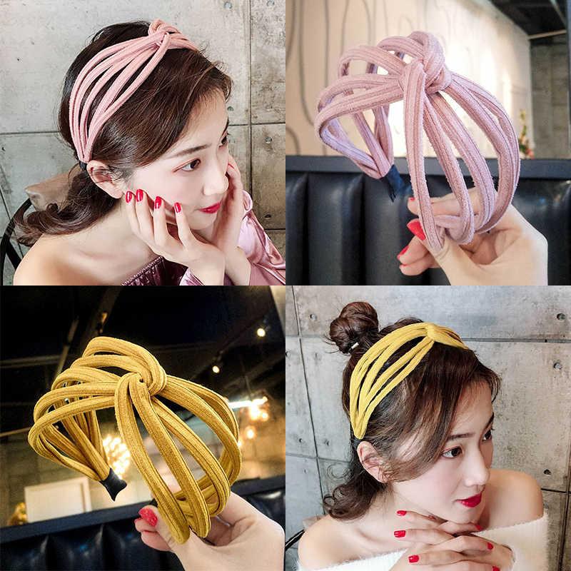 Hot 2020 nowość w koreańskim stylu na lato żółta szeroka opaska na głowę dla kobiet prosta, wszechstronna tkanina opaska do włosów słodka słodka kobieca myjka do twarzy