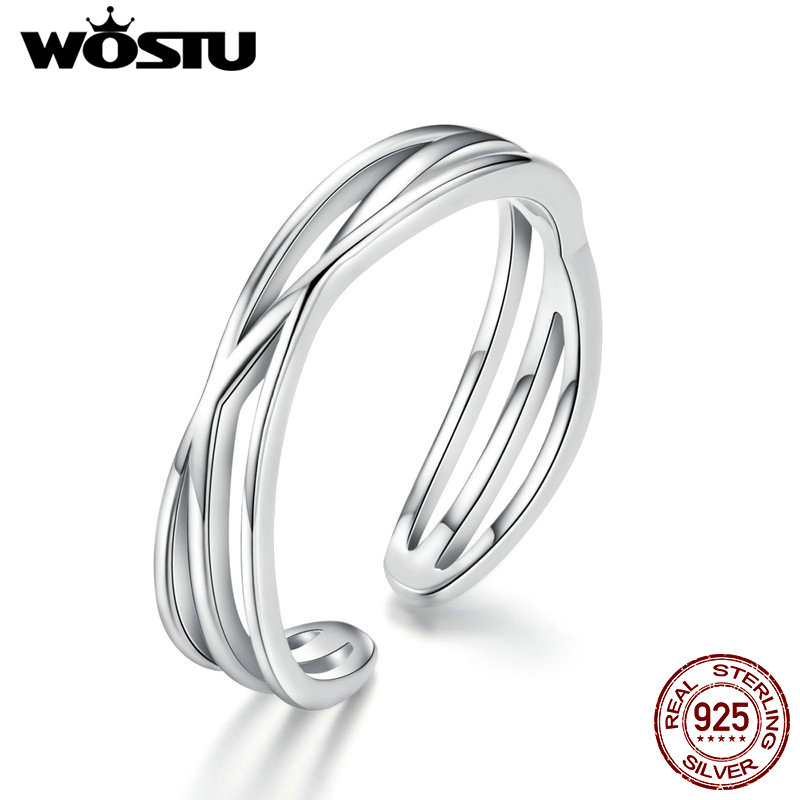WOSTU Luxury 925 Sterling Silver Simple Wave Ring For Women Geometric Twisted Silver Finger Ring Wedding Party Jewelry CQR483