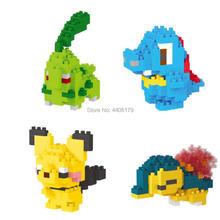hot LegoINGlys creators anime cartoon image micro diamond building blocks Cyndaquil Chikorita Pichu Totodile diy brick toys gift