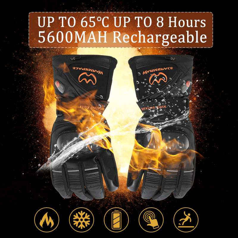 все цены на Electric Heated Battery Winter Thermo Motorcycle gloves Hands Warmer Unisex TouchScreen Waterproof Motorbike gloves full finger онлайн