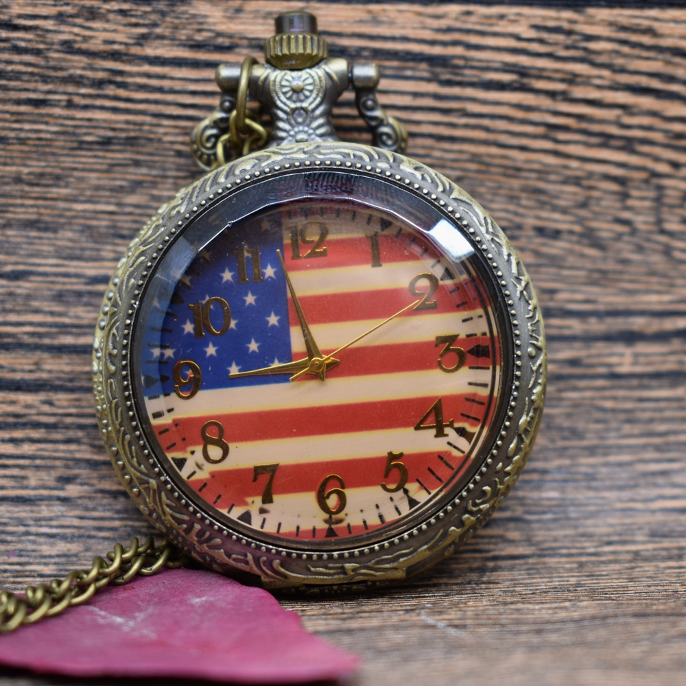 Pocket & Fob Watches Bronze Steampunk USA Flag Pocket Watch Necklace Mens/Womens Jewelry Watch Glass Watch