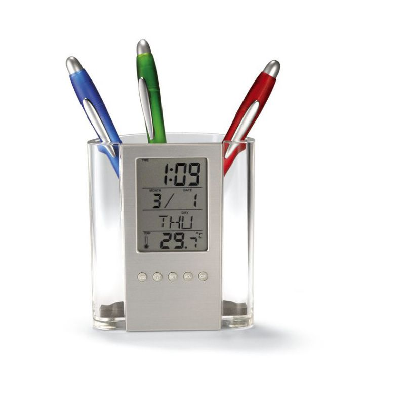 New Multifunction Desk Calendar / Pencil Box LCD Thermometer And Calendar Display Office And School Desktop Pen Holders