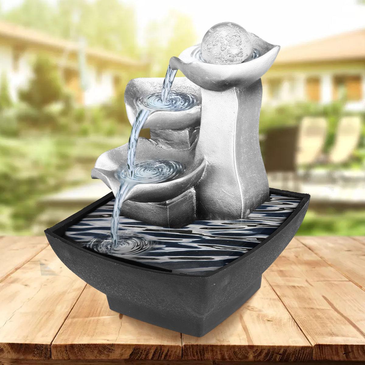 Résine fontaines d'eau intérieur Rockery cascade décoration artisanat bureau décor Figurines Feng Shui bureau eau son ornements