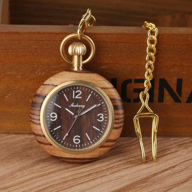 Bamboo Wood Watch Case Pocket Watch for Man, Quartz Analog Pocket Watches for Bo