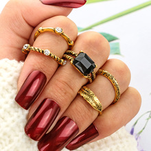 Fashion Bohemian Rings Set for Women Gold Vintage Geometric Stainless Steel Ring Black Stone Female Jewelry Anillos