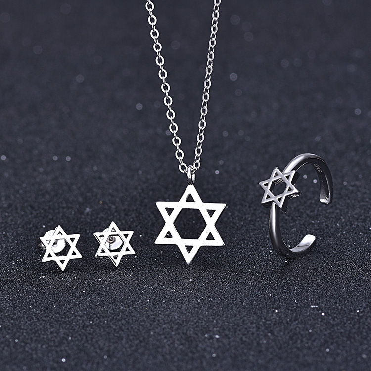 Hot Sale Women Silver Color Wedding Jewelry Set Boucle D'oreille Jewish Star of David Choker Necklace Earring Sets