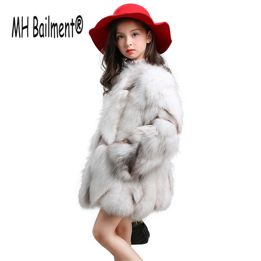 New Children Real Fox Fur Coat Grils Winter Short Warm Fur Coat High-Quality Fox Fur Natural Clothing Thick Jacket C#43 winter fur hat for women real rex rabbit fur hat with silver fox fur flower knitted beanies 2018 new sale high end women fur cap