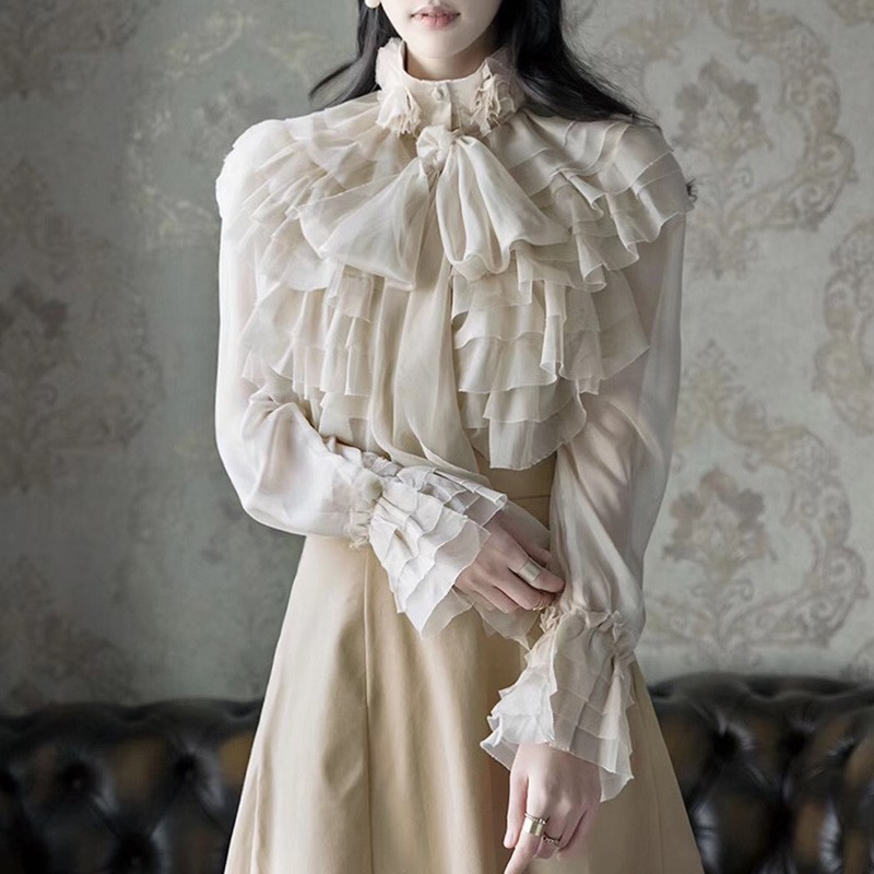 TWOTWINSTYLE Perspective Tops Female Bowknot Flare Long Sleeve Ruffle Shirt Blouse Women Korean Fashion Clothes 2019 Spring