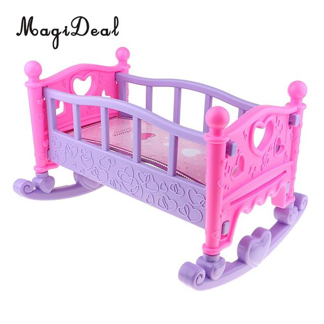 Cute Baby Doll Rocking Bed Bedroom Furniture Accessory For Mellchan Toy