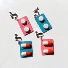 Fashion creative wooden capsule womens earrings seaside personality pill clip on ear hook girl cute unique cuff