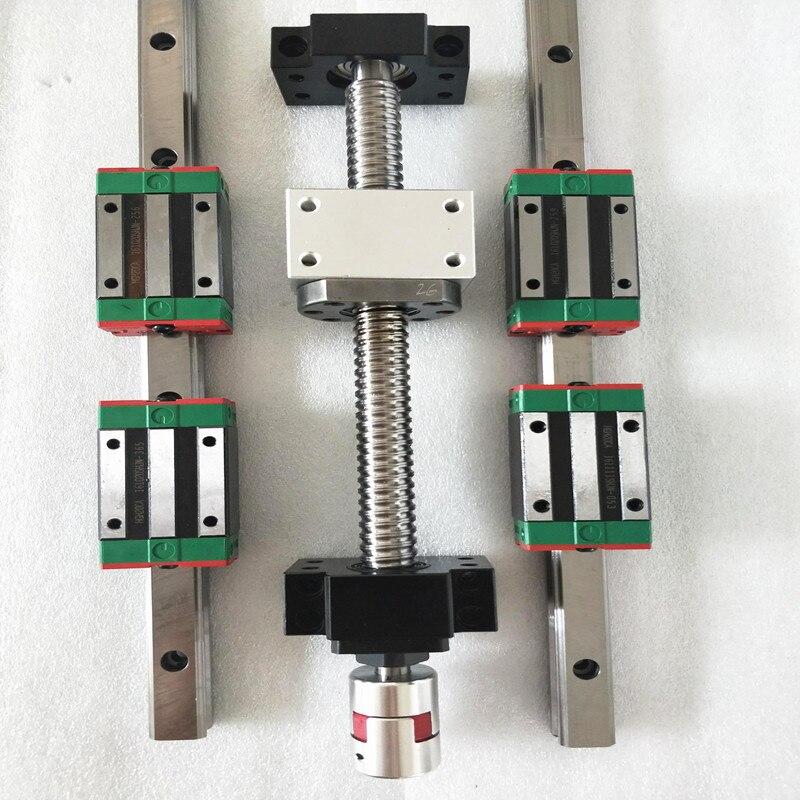 Nouveau HBH20 rails linéaires CNC vis à billes ensemble SFU1605 L700mm vis à tête + bk/bf12 + boîtier écrou à billes + accouplement d'arbre 8*10