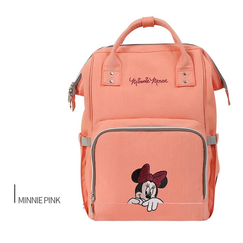 Disney Pink Minnie Cartoon Mummy Maternity Nappy Bag Brand Large Capacity Baby Bag Travel Backpack Nursing Baby Care Diaper Bags