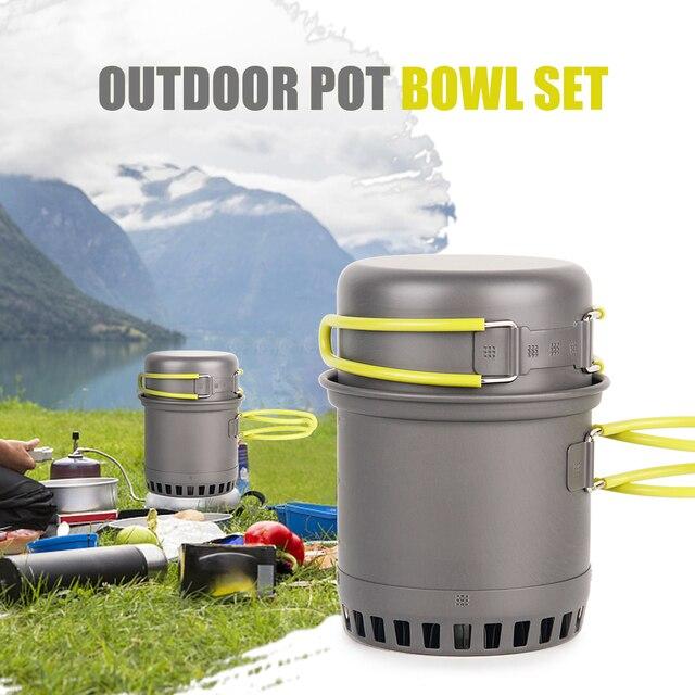 Utensílios de Mesa Ao Ar Livre Panelas de Camping Ultralight 0.75L Mochila de Piquenique Dobrável Pot Pan Set Panela Tigela Alça Pan